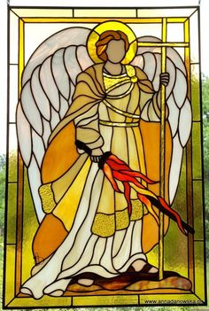Witraże Tiffany Galeria Anna Danowska Stained Glass Angel, Stained Glass Projects, Stained Glass Patterns, Religious Tattoos, Religious Art, Button Art Projects, Mosaic Portrait, Stencil Printing, Angel Art