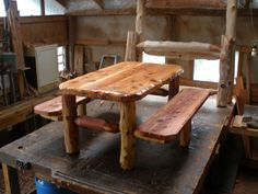 Log picnic table picnic pinterest picnic tables logs and cabin watchthetrailerfo