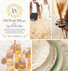 "#Wedding inspiration featuring Evermine's ""Aurelien Wreath"" Invitation Collection in pale gold."