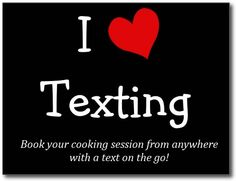 """We understand that many of you are busy during the day with work, driving to afterschool activities etc. and don't have access to a PC all the time. Therefore you can now book a new cooking session easily via text message: Send """"your email / # of meals / cooking date / cooking time"""" to 281-865-7613 if you have booked with us before and we'll schedule a new cooking for you! Sounds convenient?"""
