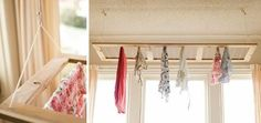 A sweet clothes drying rack on a pulley - instructions on how to build your own at worldsweetworld. Drying Rack Laundry, Laundry Dryer, Laundry Storage, Small Laundry, Laundry Closet, Laundry Rooms, Diy Clothes Airer, Clothes Drying Racks, Hanging Clothes