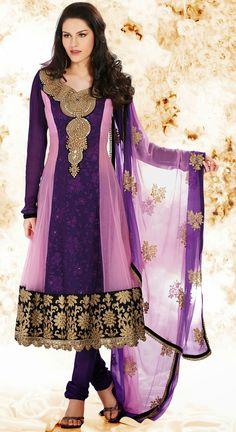 Purple and Lavender Faux Georgette Anarkali Salwar Kameez - IG7939 USD $ 108.76