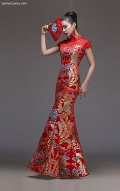 Chinese Wedding Gown Beaded Phoenix Illusion Qipao - YannyExpress  - 1