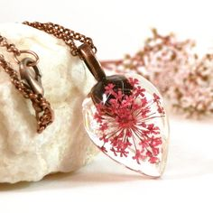 Pink pressed queen anne's lace resin pendant - real pink flower necklace - real plant jewelry - woodland pendant - botanical jewelry - pink - pinned by pin4etsy.com