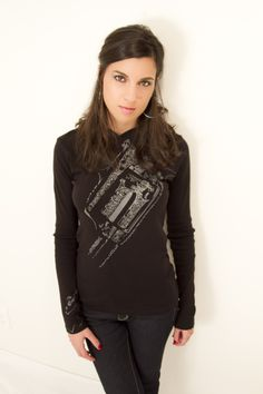 Embossed Women's Long-Sleeve Hooded Shirt #hughwear #badass #americanmade #relover #hoodie #black #gunz www.hughwear.com