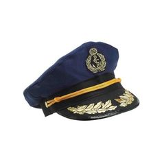 Deluxe Blue Yacht Captain Nautical Sailor Hat Navy Cap ❤ liked on Polyvore featuring accessories, hats, nautical hat, sailor hat, navy blue cap, navy cap and sailor cap