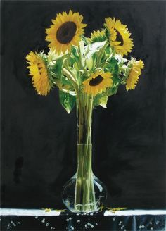 Hyper Realism Art Painting by Yingzhou Liu (b.1956) — Sunflowers on Black (800x1115)