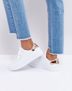 Truffle Collection Clean Lizard Contrast Sneakers - White
