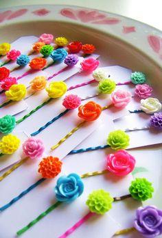 neon flower hair bobby pins