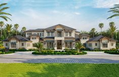 Coastal, Contemporary House Plan 52958 with 5 Beds, 9 Baths, 4 Car Garage Elevation Contemporary Style Homes, Contemporary House Plans, Modern House Plans, Modern Homes, Luxury House Plans, Dream House Plans, House Floor Plans, Bedroom Floor Plans, Dream Houses