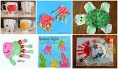 Ocean Themed Handprint and Footprint Crafts - I Heart Arts n Crafts Under The Sea Images, Under The Sea Animals, Ocean Theme Crafts, Crafts For Kids, Arts And Crafts, Footprint Crafts, Handprint Art, Art N Craft, Ocean Art