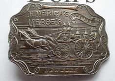 Brass American Heroes New York Fire Dept Belt Buckle horse drawn fire wagon, Solid Brass. Large and heavy Back reads: Lewis Buckle Chicago  Measures almost 4 in x almost 3 in