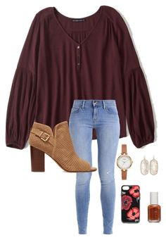 """""""School"""" by abbyharshman8 on Polyvore featuring Abercrombie & Fitch, Sam Edelman, Kate Spade, Kendra Scott and Essie"""