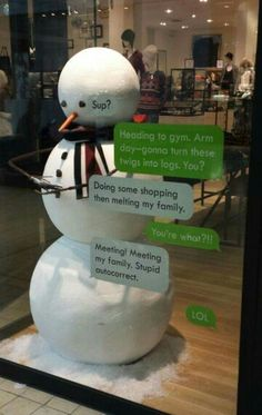 This is what happens when you hire young kids to do the display window, should we give them a raise?