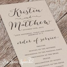Hey, I found this really awesome Etsy listing at https://www.etsy.com/listing/217523362/printable-wedding-program-eternity