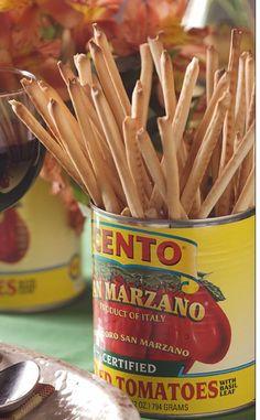 Breadsticks in tomato can