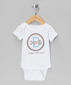 Take a look at this Initial Request White & Blue 'Made With Love' Personalized Bodysuit on zulily today!