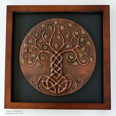Yggdrasil: The World Tree. Cold-cast Relief Sculpture with antique COPPER…