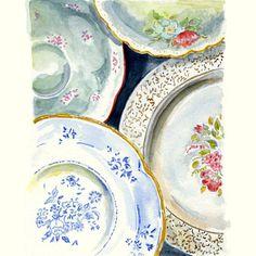 Still Life Kitchen Decor of Original Watercolor Painting -- Vintage Plates 2. $25.00, via Etsy.