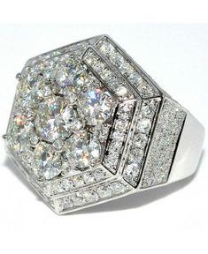 7.5CTW MENS DIAMOND & MOISSANITE RING WHITE GOLD 10K CUSTOM RING PINKY…