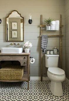 Rustic Wooden Bathroom Storage Ladder – Home and Apartment Ideas Bathroom Renos, Bathroom Renovations, Basement Bathroom, Bathroom Cabinets, Budget Bathroom, Bathroom Makeovers, Bathroom Flooring, Small Bathroom Remodeling, Restroom Cabinets