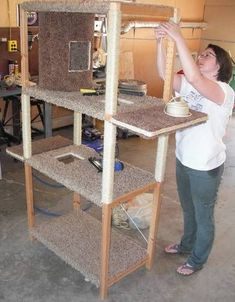 Huge Cat Tree - From a wooden shelving unit to a cat condo... Cool!  looks easy too... #CatTree
