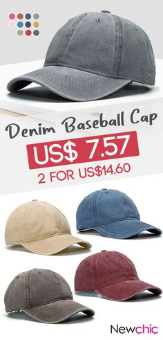 d990a15b5da Men Women Washed Denim Fitted Baseball Cap Solid Polo Style Sports Visors  Hat is hot sale on Newchic.