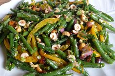 Mediterranean Green Bean Salad with Sweet Pepper, Fresh Herbs, Hazelnuts, Kalamata Olives & Goat Cheese by jfhaugen