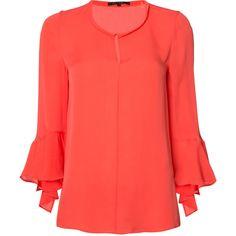 Kobi Halperin bell sleeve blouse ($435) ❤ liked on Polyvore featuring tops, blouses, orange, orange blouse, orange silk blouse, red silk top, orange top and flared sleeve blouse