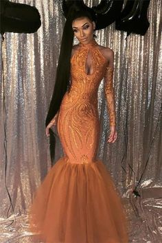 Black Girl Prom Dress Dust Orange Mermaid Cheap Prom Dress with Sleeves | Halter Sexy Keyhole Sparkly Appliques Evening Gowns cg14653