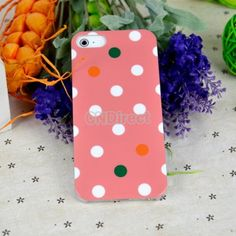 25% off Pink Cute Glossy Polka Dots Hard Plastic Case Cover Skin Protector For Apple iphone 5