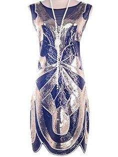 Vijiv 1920s Vintage Charleston Downton Gatsby Sequin Embellished Flapper Dress
