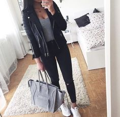 leather moto jacket outfit idea- The most stylish selfie outfits http://www.justtrendygirls.com/the-most-stylish-selfie-outfits/
