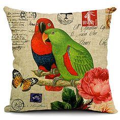 A+Couple+of+Parrots+Cotton/Linen+Decorative+Pillow+Cover+–+BRL+R$+57,11