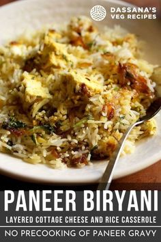 Paneer biryani is a mildly spiced and delicious dum cooked layered paneer biryani. This paneer dum biryani recipe is very different than any paneer biryani recipe you must have seen or read. The paneer cubes are marinated, layered with cooked rice and then dum cooked. So no gravy is made before. Easy in a way, this paneer biryani is mild and delicately flavored. Paneer Recipes, Veg Recipes, Indian Food Recipes, Vegetarian Recipes, Cooking Recipes, Recipies, Paneer Biryani, Dum Biryani, Paneer Dishes