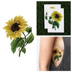Tattify Sunflower Temporary Tattoo - Sunny Disposition (Set of 2)