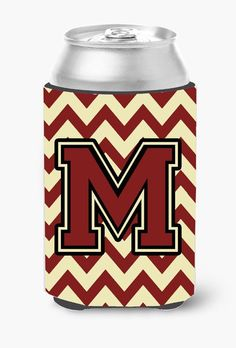 Letter M Chevron Maroon and Gold Can or Bottle Hugger CJ1061-MCC