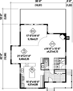 First Floor Plan of House Plan 52804