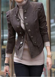Women's Slim Stand-up Collar Long Sleeve Single Breasted Short Coat with Decorative Patch 1032 - WearingSales.com