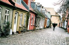 The colorful cottages of Aarhus, Denmark.