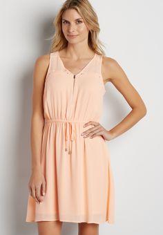 6afc64a0d06a solid chiffon dress with zipper neckline