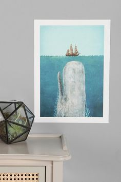 7c0e00ffbbf Terry Fan The Whale Art Print - Urban Outfitters Ocean Bathroom