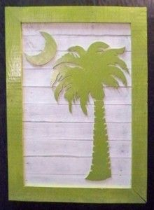Big Palmetto Moon (New Style) Southern Accents, Southern Charm, Southern Belle, Palmetto Moon, Palmetto Tree, Moon Crafts, Orange And Purple, Blue, Pallet Art