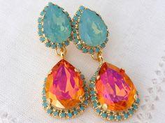 Pink orange Pacific opal and turquoise halo Crystal Chandelier earrings, Drop earrings, Dangle earring, Bridal earrings, bridesmaids gift by EldorTinaJewelry on Etsy https://www.etsy.com/listing/205641076/pink-orange-pacific-opal-and-turquoise