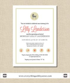 10 Cream Coral & Gray Baby Shower Invitations by everythingashleyanne on Etsy, $15.00 #babyshower #pink #coral #invitations