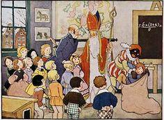 """Hier brengt Sinterklaas een bezoek aan de school,   Om naar de rapporten te vragen.  Dat is me een feest, dat is me een jool.  Behalve Jan Smit, die moet klagen !  Want meester vertelt aan de goede Sint:  """"Jan Smit is voortdurend ondeugend !  Je gaat in de zak, mee naar Spanje, m'n vrind !""""  Dat is voor Jan Smit niets verheugend !  Hij schreeuwt en hij gilt en hij spartelt en krijst  Hij krijgt er van angst zelfs de hik bij,  Zodat Zwarte Piet hem uit de zak weer hijst."""