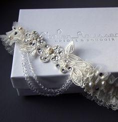 delicate anaïs lace garter by atelier rousseau bridal