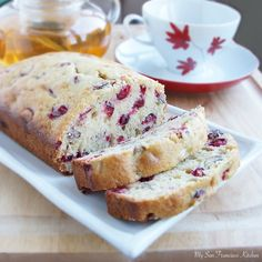 A recipe for cranberry walnut bread, made with fresh cranberries, walnuts and hints of lemon, orange and cinnamon.