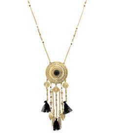 Another great find on #zulily! Antiqued Gold & Black Fringe & Tassel Pendant Necklace #zulilyfinds
