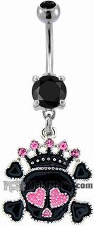 Metal Mafia SKULL WEARING PINK GEM CROWN BELLY RING (BNASK120) @ http://www.tribalectic.com/store/pc/viewPrd.asp?idproduct=26268&idcategory=108